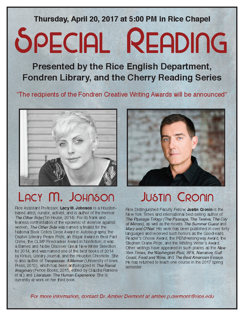 Justin Cronin & Lacy Johnson - April 20, 4pm - Rice Chapel