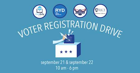 Voter registration drive flyer with club and department logos