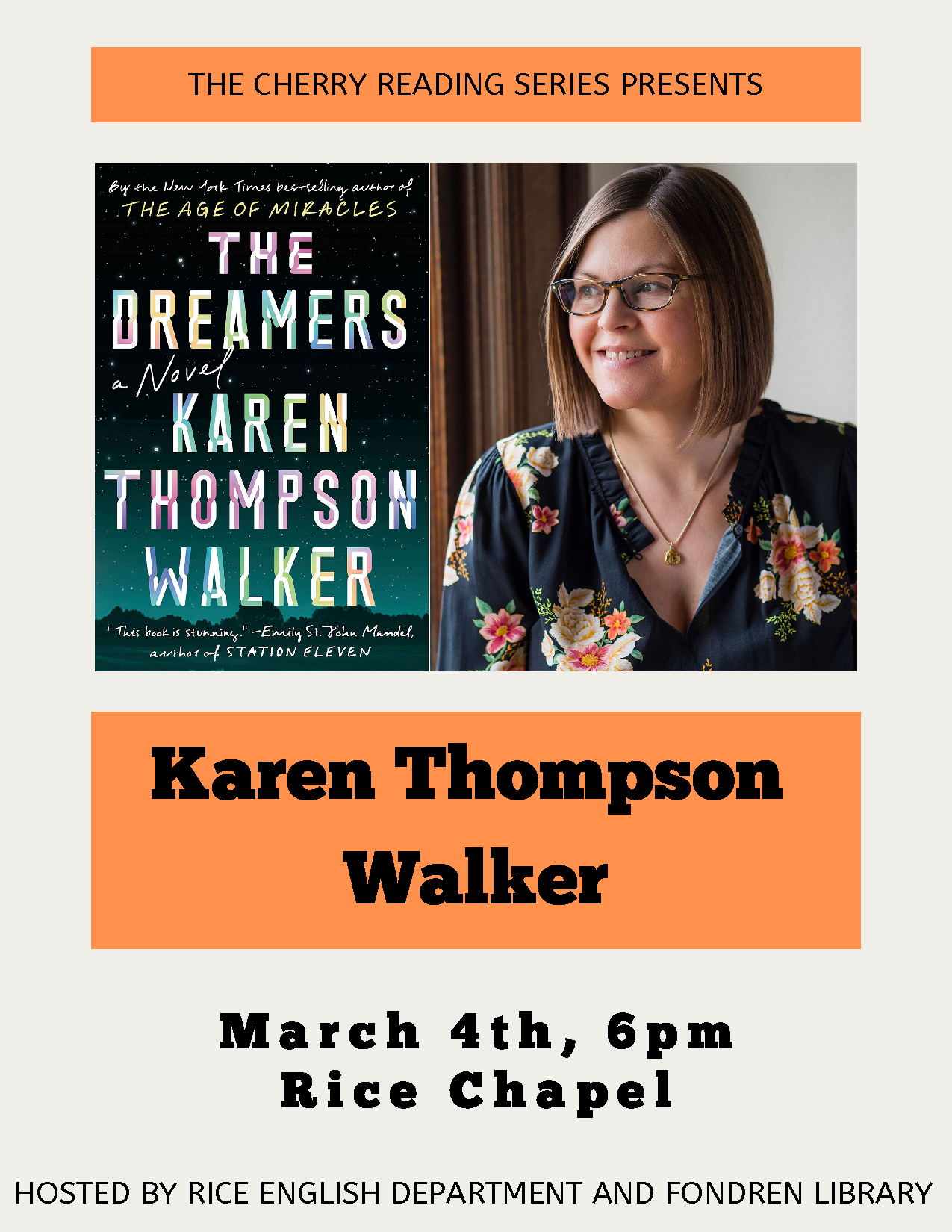 Cherry Reading Series - Karen Thompson Walker, Mar. 4