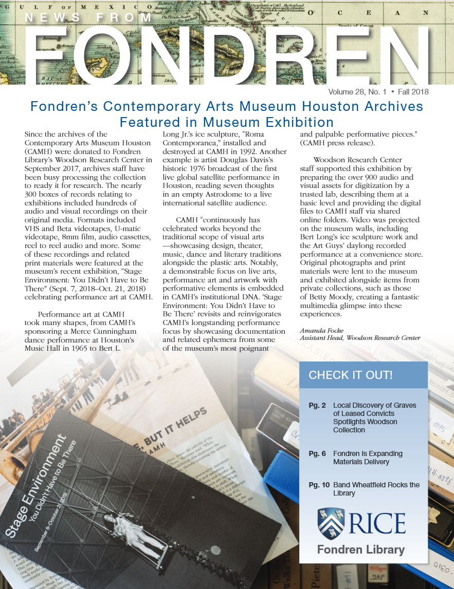 News from Fondren - Fall 2018 Issue