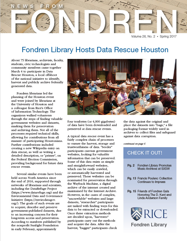 News from Fondren Spring 2017