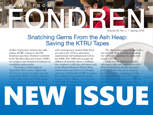 New Issue of News from Fondren