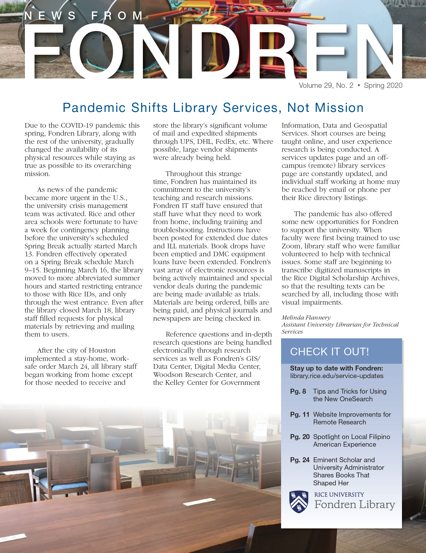 News from Fondren Spring 2020 Cover